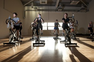 spinning class in action