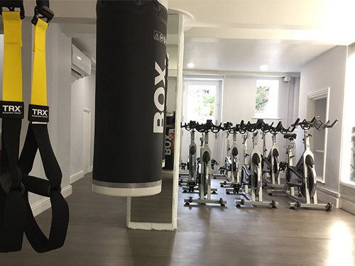 TRX, punch bag and bikes