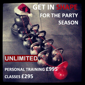 Dumbells with wording 'Get in shape for the party season'